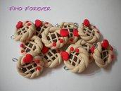 Lotto 10 ciondolo Crostatina in fimo handmade
