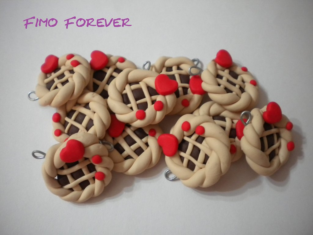 Lotto 10 ciondolo Crostatina in fimo handmade