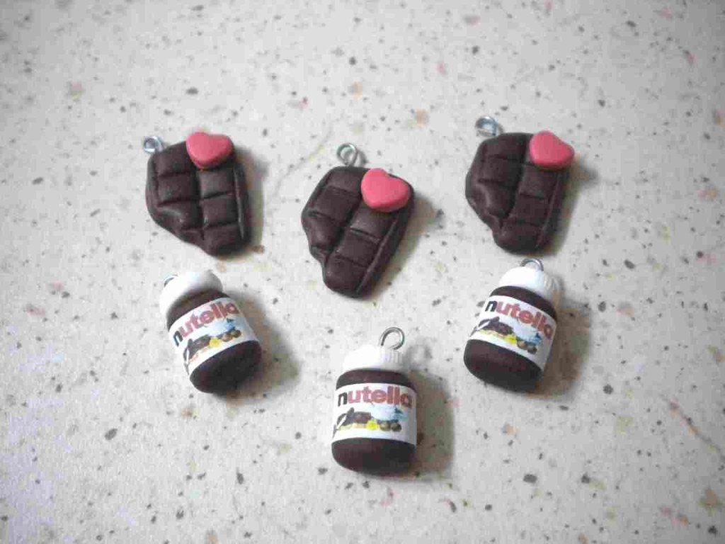 lotto 10 ciondoli fimo 5 nutella e 5 barretta di cioccolato handmade charms x orecchini e bracciali