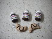 lotto 10 ciondoli fimo 5 nutella 5 cornetto al cioccolato handmade charms x orecchini e bracciali