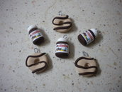 lotto 10 ciondoli fimo 5 nutella 5 ciambelle donuts con glassa cioccolato handmade charms x orecchini e bracciali