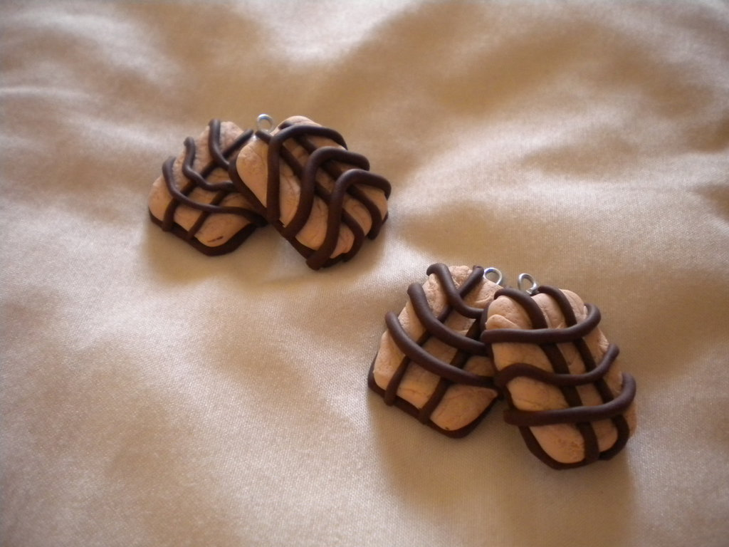 lotto 10 ciondoli fimo tegolino al cioccolato handmade charms x orecchini e bracciali