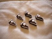 lotto 10 ciondoli in fimo fetta di torta pan di stelle handmade charms x orecchini e bracciali