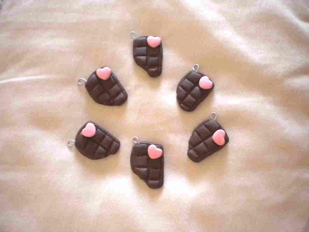 lotto 10 ciondoli fimo barretta cioccolato con morso charms handmade x orecchini e bracciali