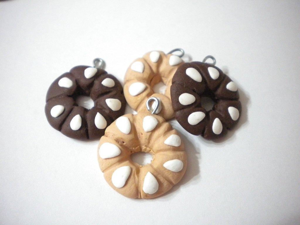 lotto ciondoli in fimo 10 bucaneve 5 bianchi 5 cioccolato handmade charms x orecchini e bracciali
