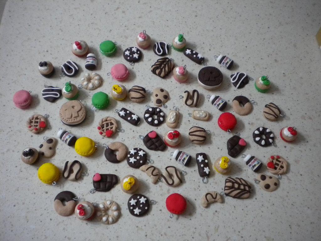 lotto 50 ciondoli in fimo misti handmade charms ideali per orecchini e bracciali