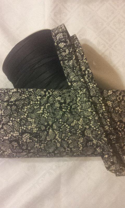 kit Fondo - coppia manici in tessuto fantasia effetto pizzo , fettuccia  per borse