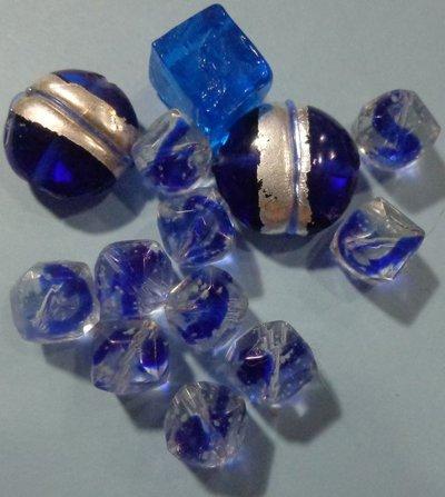 50% DI SCONTO - 13 Perline Vetro Blu