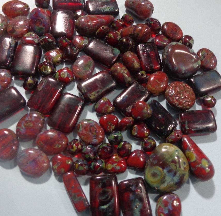 50% DI SCONTO - 84 Perline Vetro di Praga Bordeaux e Muschio