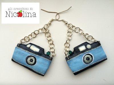 Orecchini macchine fotografiche azzurre