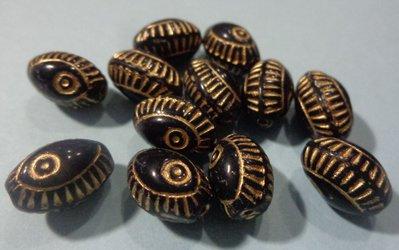50% DI SCONTO - 12 Perline Vetro di Praga Nero e Oro