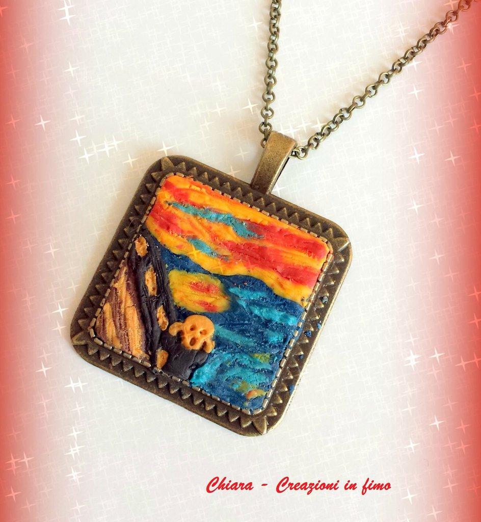 Ciondolo in fimo handmade ispirato al dipinto L'Urlo di Munch idea regalo
