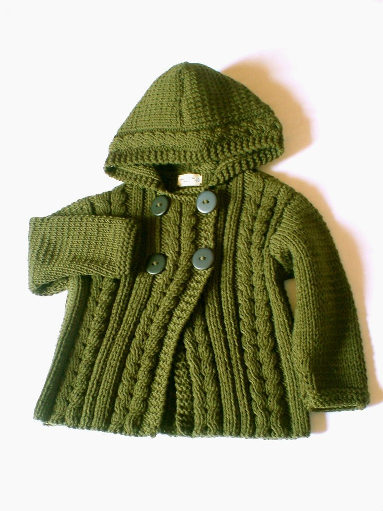 Hand Knit Wool Hooded Jacket- Cardigan for Boy or Girl in military - Choose Your color and size
