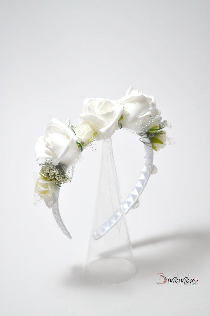 cerchietto cerchiello corona coroncina comunione battesimo cresima occasione elegante damigella matrimonio capelli .