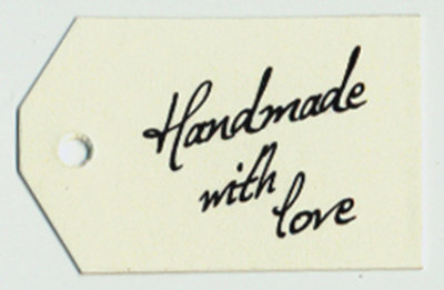 "Tag con buco ""handmade with love"" cartoncino avoriato"