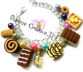 Bracciale Merendine - ciliegia, cioccolato, colazione, cookie, biscotti, caramelle, girella, flauto ecc