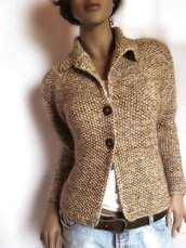 Chocolate- Cappuccino Jacket in Luxury Silk-Mohair and Baby-Merino-Custom