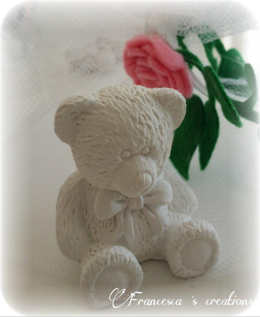 bomboniera orsetto in gesso ceramico