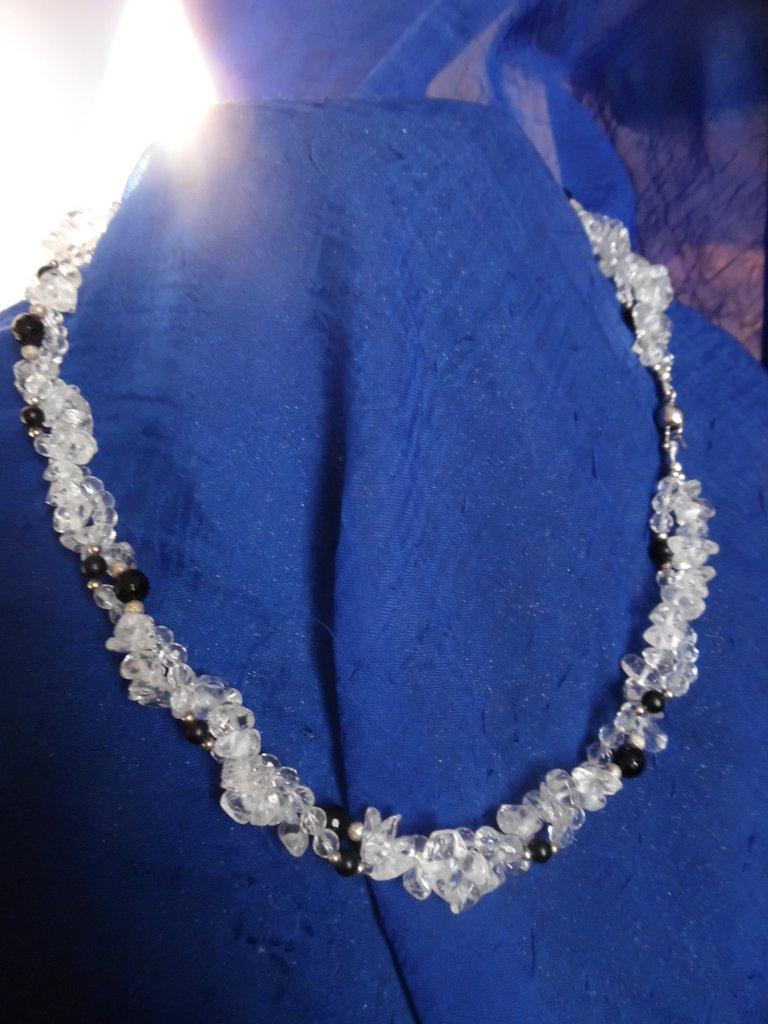 Collana cristallo di rocca agata nera (onice) argento 925