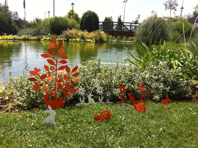 Coniglietto con i fiori 3d bordura per giardino per la for Giardino 3d