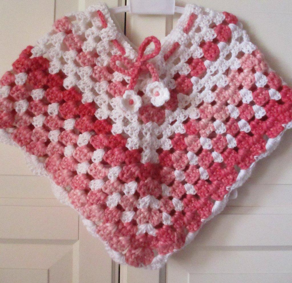 Poncho Rosa Per Bambina A Uncinetto Bambini Abbigliamento Di