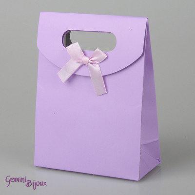 Sacchetto da regalo in carta con nastro di raso, 16.5x12.5x5.6 cm. lilla