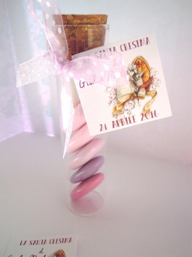 provette vetro con confetti sfumati cresima
