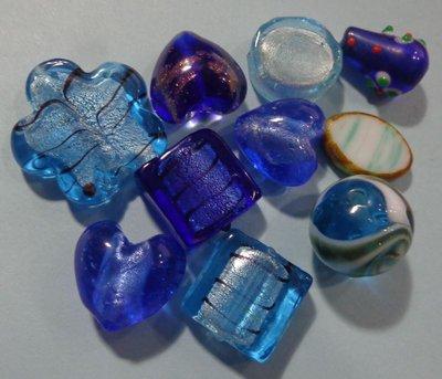 50% DI SCONTO - 10 Perline Vetro Celeste e Blu