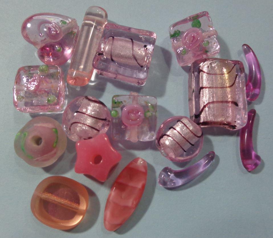 50% DI SCONTO - 16 Perline Vetro Rosa e Violetto