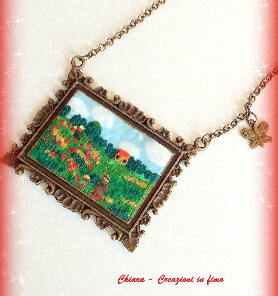Ciondolo in fimo handmade ispirato al dipinto I papaveri di Monet idea regalo