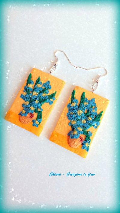 Orecchini in fimo handmade ispirati al dipinto Vaso con iris di Van Gogh idea regalo Festa della mamma