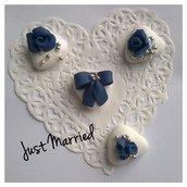 segnaposto matrimonio, wedding, confetti decorati, blu e argento, serenity
