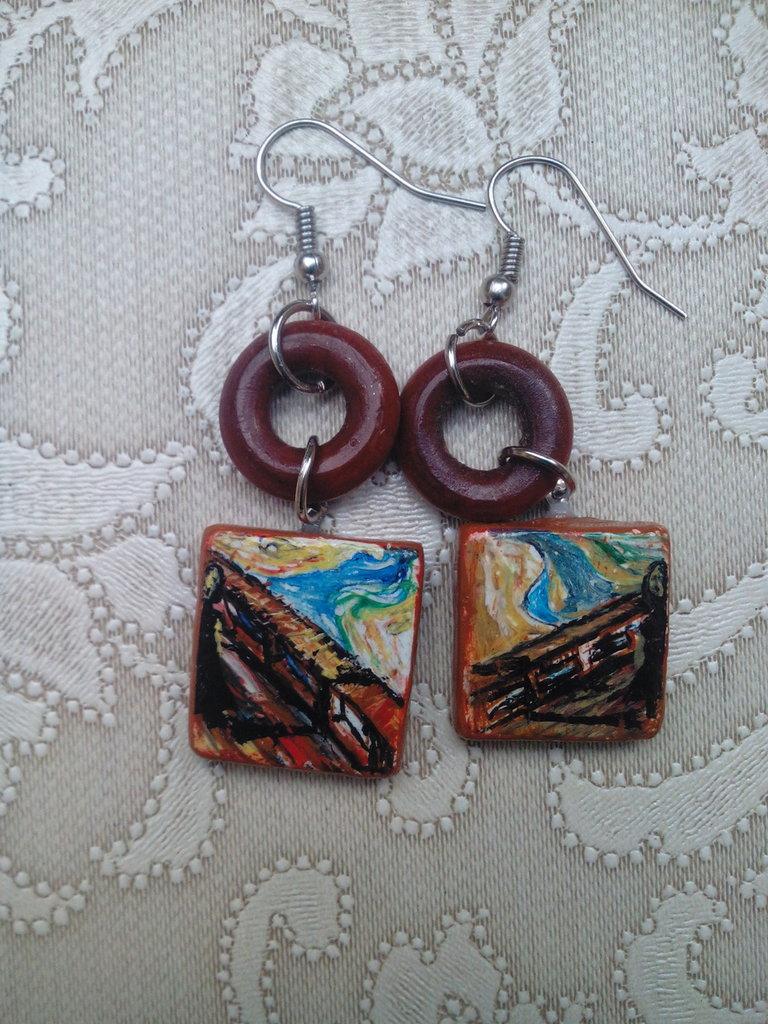 Orecchini, ceramica, dipinti,