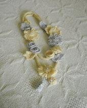 Elegante e ricca COLLANA in maglia tubolare 2 fili (beige/grigio)con fiori a telaio e all'uncinetto.Foglie,rose,elementi a goccia e perle.