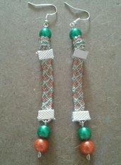 Orecchini San Patrizio fatti a mano cotone perle verde arancione argento