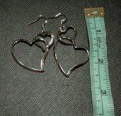 Orecchini argentati cuore cuori amore monachelle pendenti