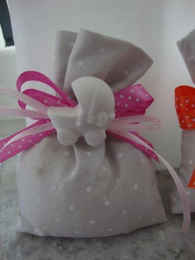 sacchetto porta confetti con gessetto confezione per nascita battesimo comunione