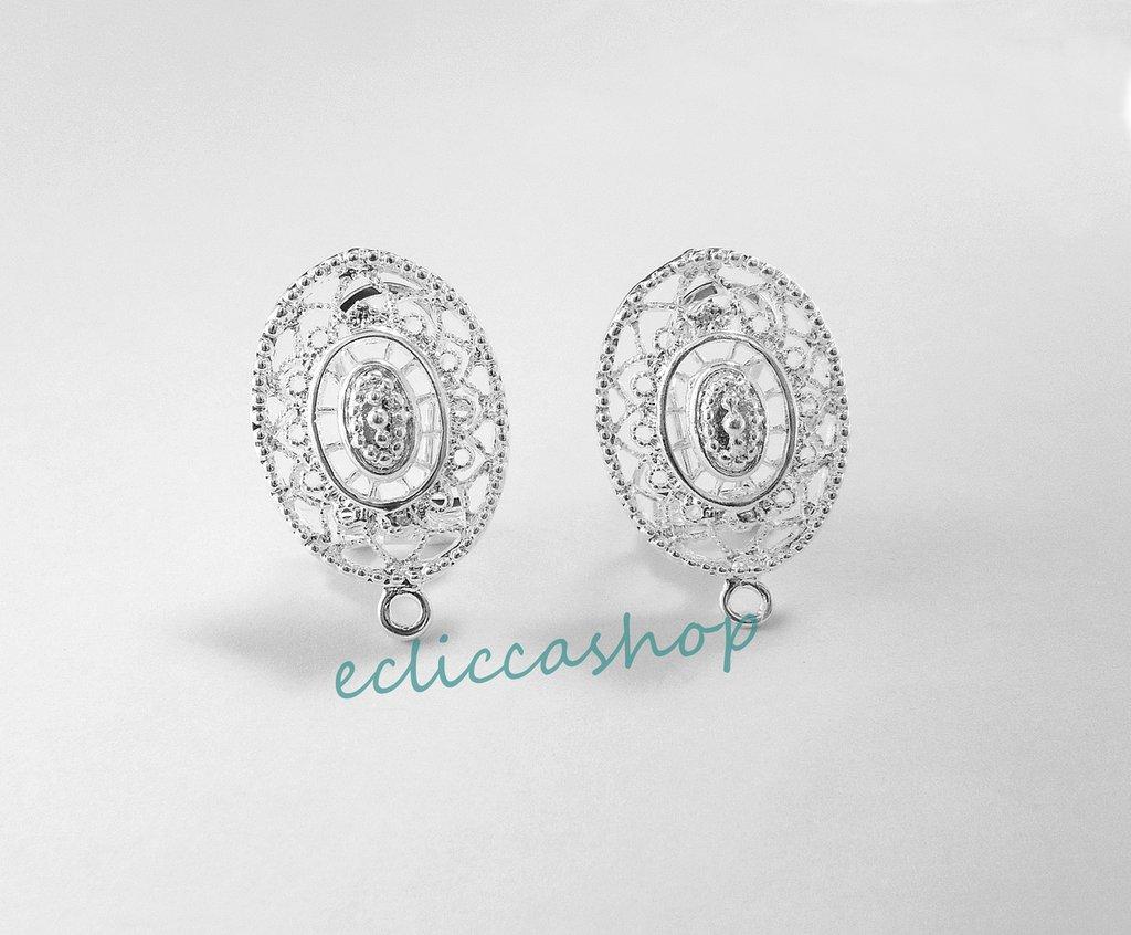 Base orecchini ovali  in Ottone rodiati in argento