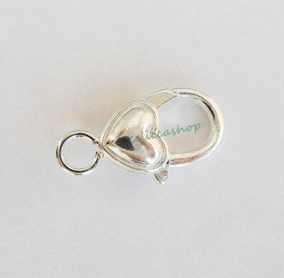 Moschettone a forma di cuore colore argento 1 pz