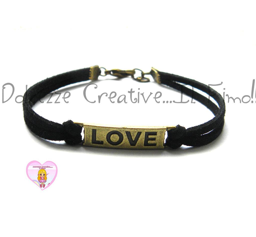 Bracciale LOVE - color bronzo con alcantara nera, idea regalo unisex