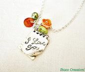 Collana con pendente in metallo - I Love You - San Valentino