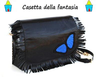 Borsa Vera Pelle Farfalla e frange. Modello Postino.