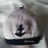 Cappello/berretto bianco e blu alla marinara