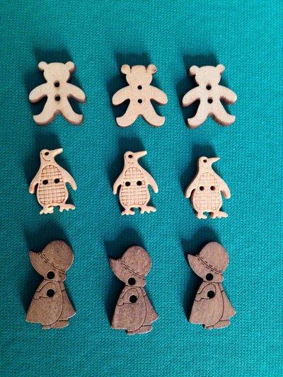 Bottoni in legno forme varie