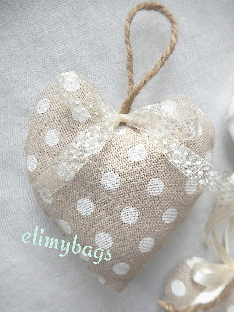 Favorito Bomboniere beige a pois bianchi di stoffa a forma di cuore da  MB27