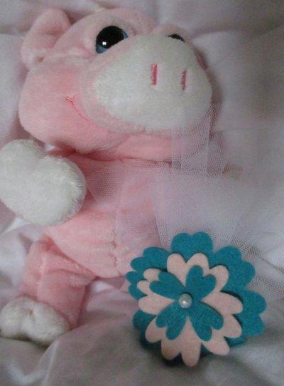 Bomboniera con fiore rosa in feltro