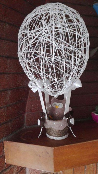 mongolfiera con gufetto in stile shabby chic
