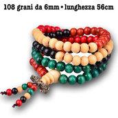 bracciale mala legno  sandalo tibet buddha 108 grani  rosario uomo donna