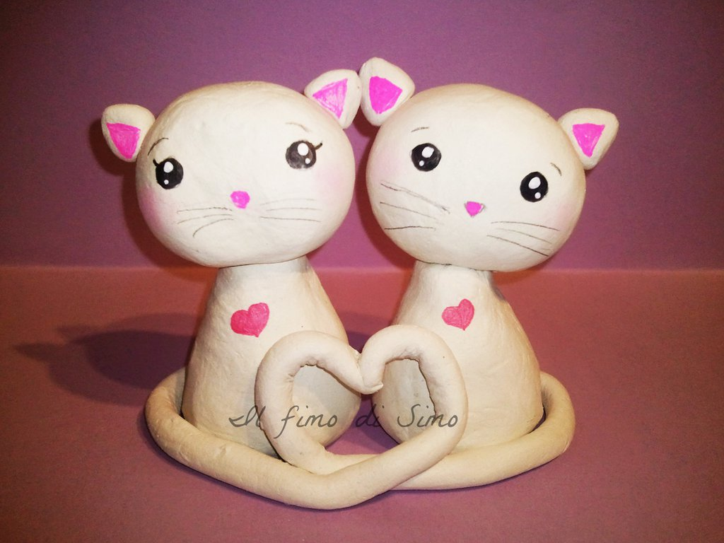 cake topper matrimonio gattini in fimo