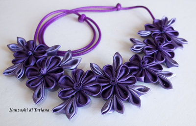 Collana kanzashi fatto a mano colore viola
